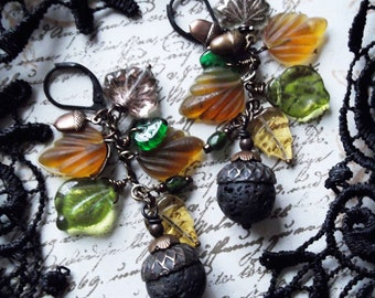 Acorn Capped Lava Bead Rusty Black Patina With Czech Glass, Pressed Glass Leaves, Vintage Brass Acorn Charms