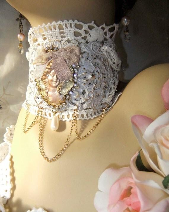 White Patina, Ornate Filigree, Wedding Choker,  Vintage Pearl, Glass Pearl Teardrop, Handmade Lace, Rhinestones, Neck Cuff