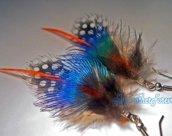 Blue green orange and brown short feather earrings