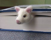 Needle felted bookmark made as a curious kitty cat