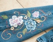 Custom Hand Painted Jeans-size 12 L