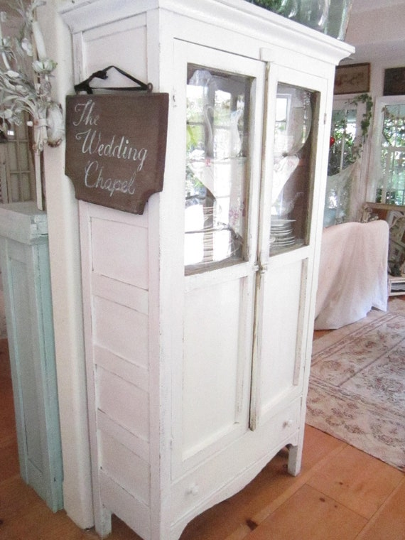 Vintage cubboard white chippy painted with original old glass double door shabby chic