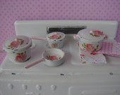 Dollhouse Miniature Shabby Chic 4 Piece Set Pots and Pans Pink Klein Roses White Metal