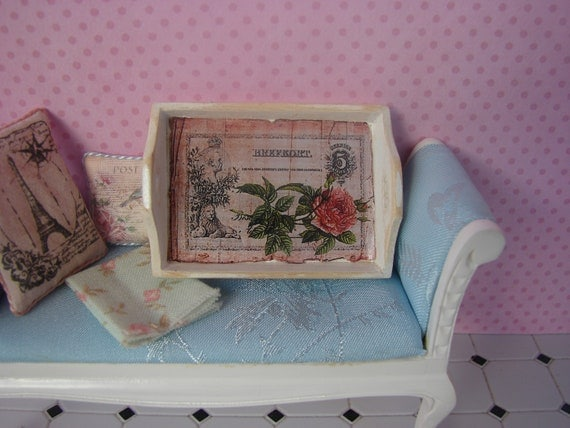 Dollhouse Miniature Shabby Chic White and Pink Wooden Tray