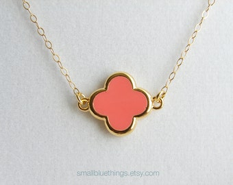 Simple Pink Clover Necklace. Small Four Leaf Clover with Gold Colored Trim. Bridesmaid Gift. Gift for Her