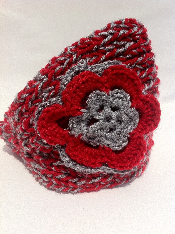 crochet headband Knit Winter Red Gray Ohio State flower