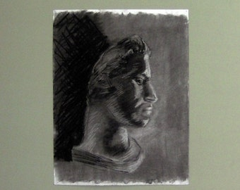 Original drawing. Charcoal. Large. Classical bust. Face in profile.
