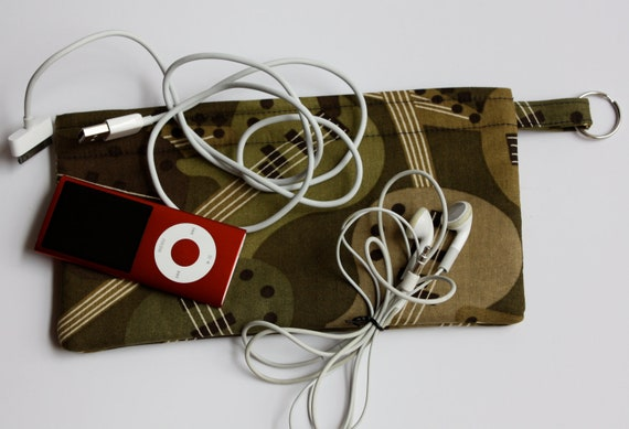 SALE   Pencil Electronic Gadgets Phone pouch with split key ring Guitar Camouflage Christmas Stocking Stuffer