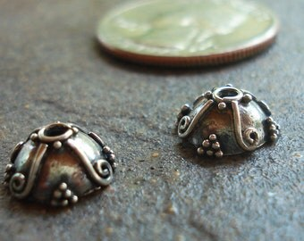 Oxidized Bali Sterling Silver Bead Cap 5 x 9 mm with Wire and Granulation Decoration, pkg of 2
