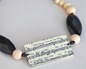 Music necklace. Beige and black wooden necklace ready to ship.