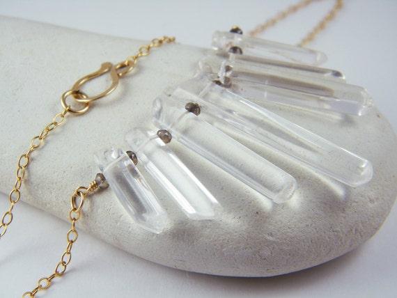 Quartz crystal necklace Natural crystal point necklace 14K Gold Filled necklace