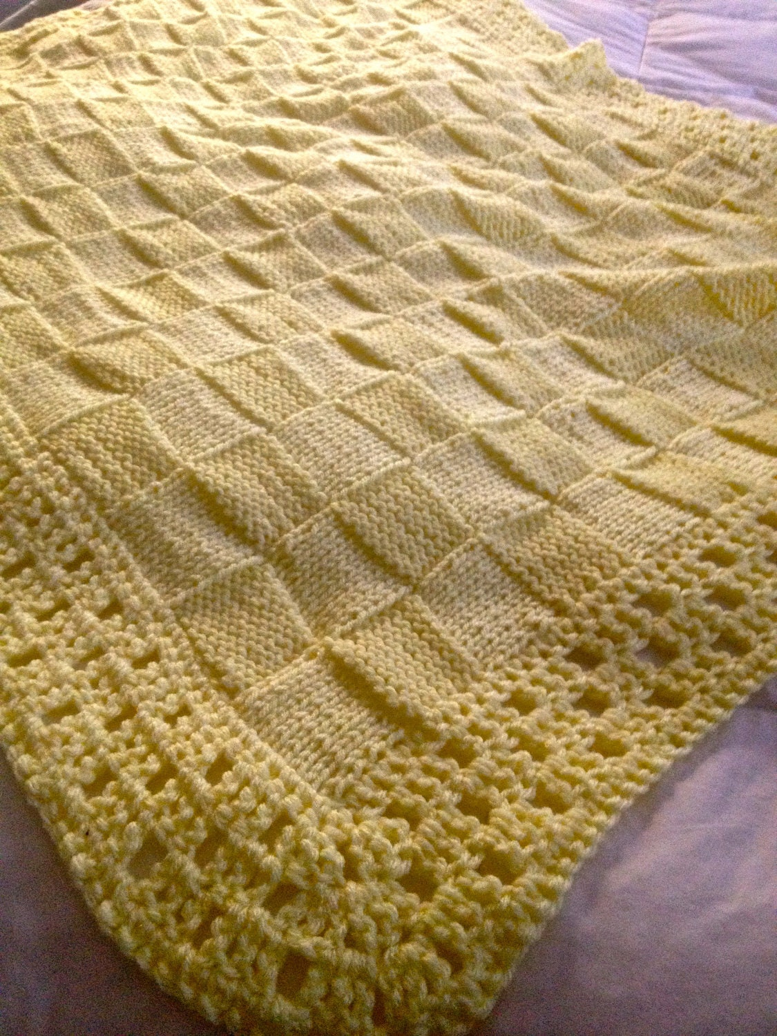 Baby Cot Blanket Knitting Pattern : Hand knit Baby Blanket in Block pattern with hand by DarellaBaby