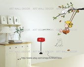 Baby Swinging with Cats on the Tree - PEEL and STICK Removable Vinyl Wall Decal, Wall Sticker, Wall Decor (FREE shipping)