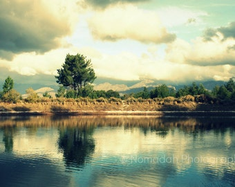 Landscape photograph, reflection in water, lake and sky photo, clouds reflected in water, nature photography, South Africa