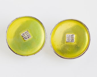 Vintage GIVENCHY Lime Green Clip on Disc Earrings