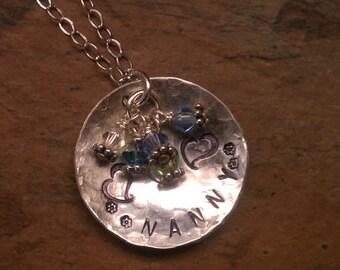 Nanny,  Nana, Grandma, Mom birthstone necklace