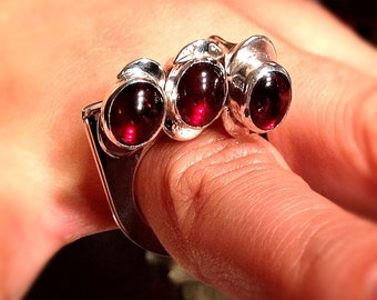 Hephaestus' Flail Ring of Heartfire...OOAK, Handmade, Sterling Silver and Garnet Charm Ring of Legend.