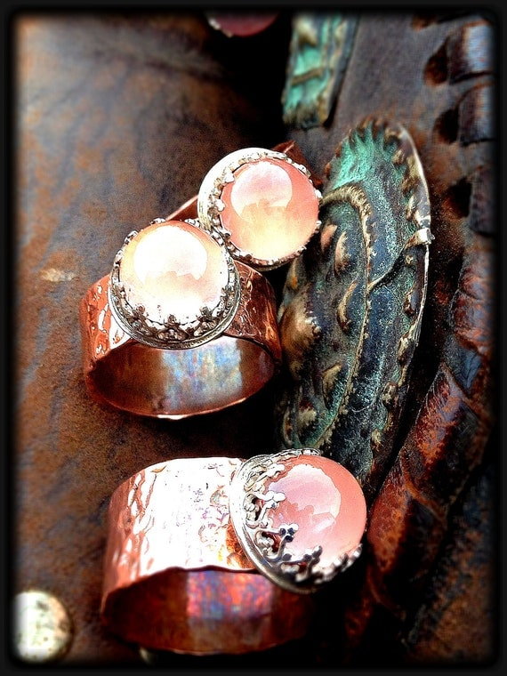 Fingerlets of Venus...Stacking Handmade Artisan Sterling Silver and Copper Rings Set With Rose Quartz Cabochons
