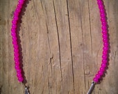 Simple & Sweet- Pink Beaded Silver Feather Necklace