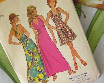Simplicity 5037 Vintage 1970s Sewing Pattern, Halter Sun Dress