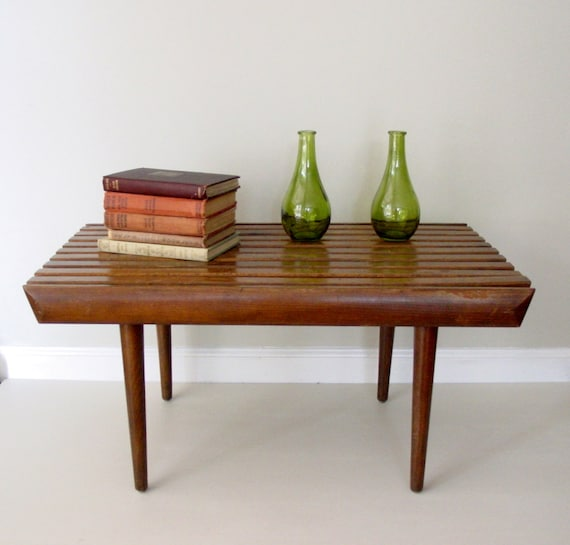 vintage mid century modern side table / small slat bench RESERVED