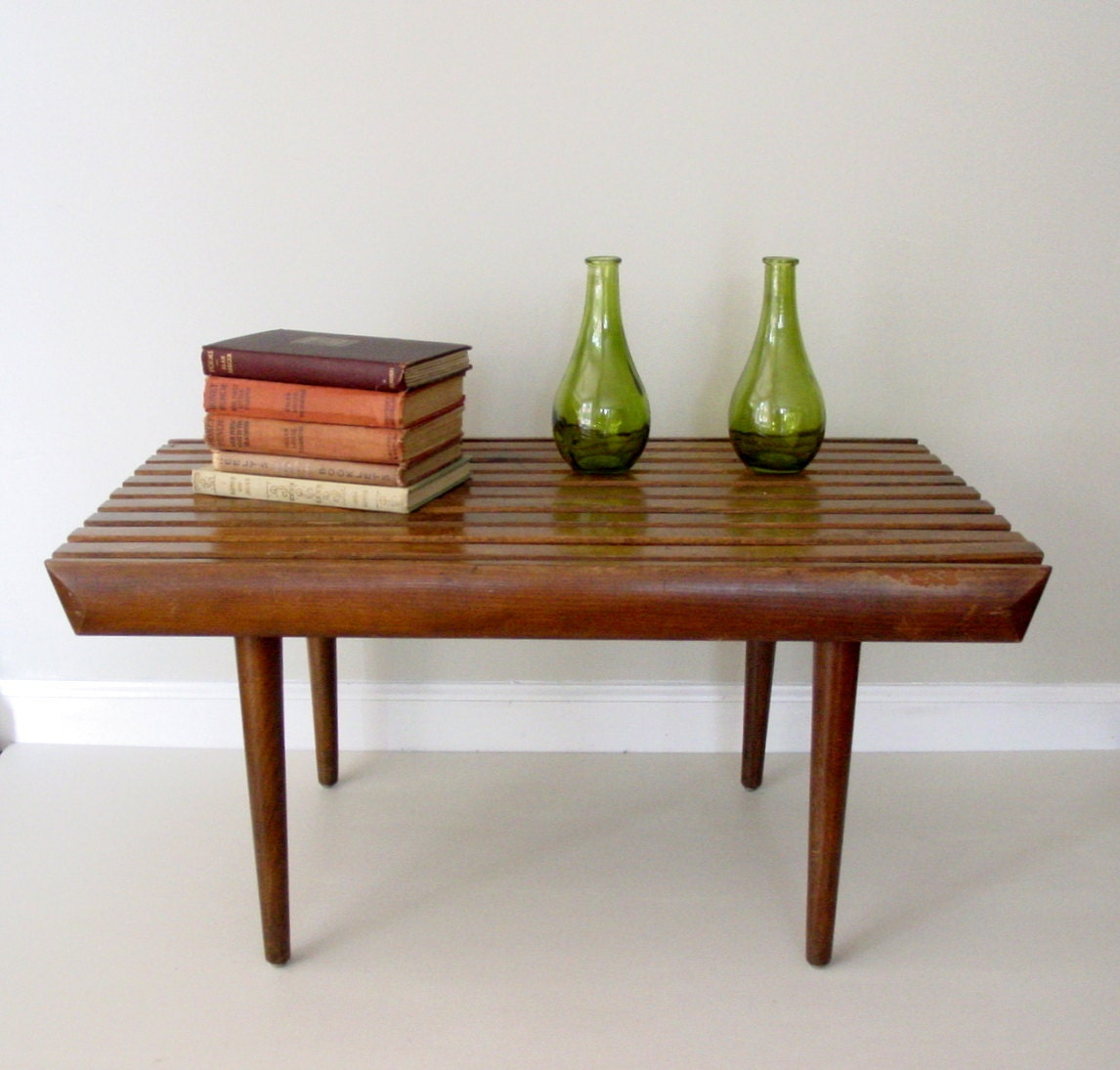 Mid Century Solid Wood Small Platform Slat Bench Or Coffee: Vintage Mid Century Modern Side Table / Small Slat Bench