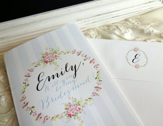 For Destiny x 9 - Be My BRIDESMAID/ MAID of Honor Cards. Shabby Chic, Vintage Inspired. Fully Personalized.
