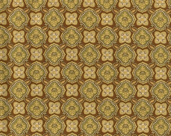 SALE, Floral Fabric, Yellow Floral Polka Dot Fabric, Golden Fabric, 1 yard Fabric, 00872