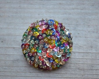 Vintage. Sparkly Sequin Brooch. Colorful.