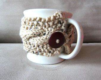Coffee Cup Cozy Knit Mug Warmer Autumn Cups Handmade Cup Sleeve Knitted Mugs Winter Accessories Starbucks Gifts Tan Autumn and Amber