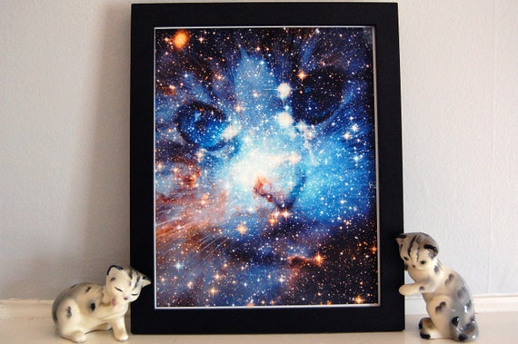 "Customizable Cat ""Feline Space Program"" Galaxy Nebula Stars Fine Art Print"