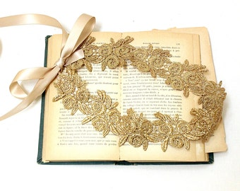 Gold Flower Metallic Lace with Champagne Ribbon Sash, Gold Wedding Headband,Bridal Sash, Bridesmaid Sash, Flower Girl Sash,GSH-12