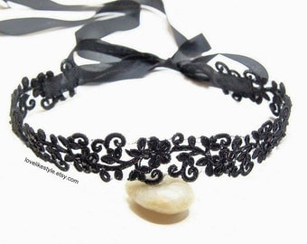 Black Beaded Embroidery Flower Lace Head Band, Head Tie, Head Piece, Bridal Hair Accessories, Bridesmaid Headband