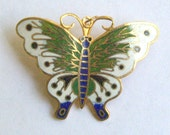 Vintage enamel butterfly pendant with brooch