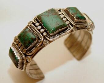 Lovely Vintage Navajo King's Manassa Turquoise Heavy Sterling Bracelet - Hallmarked 95 Grams