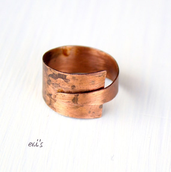 Handcrafted Copper Folded Eco Friendly Oxidized Wide Rustic Metalwork Open Adjustable Band Statement Ring Gift for Her-Size 6.5