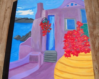 ORIGINAL Greece Painting Mediterranean Landscape Santorini Island, Wedding Gift