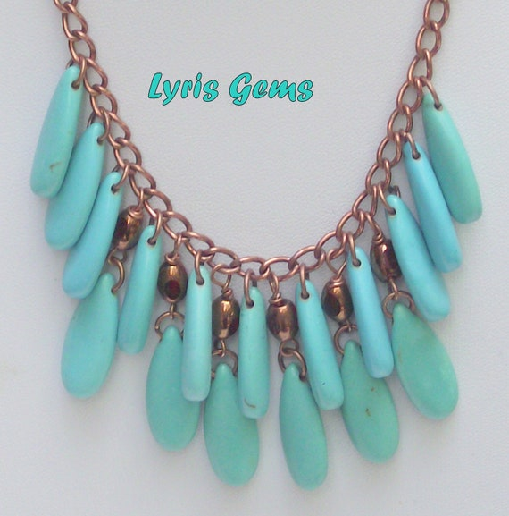 Turquoise and Copper Necklace,Teardrops,Dangles,on a Chain,Howlite.,Mediterranean,Handmade
