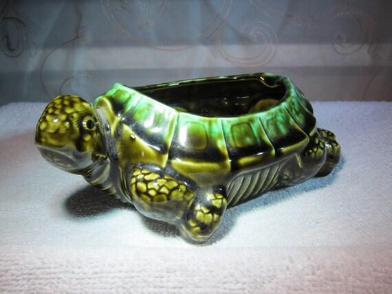 Majolica Ceramic Turtle Planter