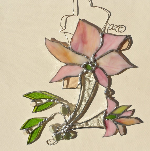 Stained Glass Suncatcher. Abstract Pink Lily from Chicago.
