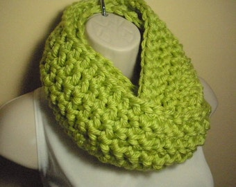 Neon Lime Green Cowl Infinity Circle Scarf Neckwarmer Extra Thick Extra Bulky