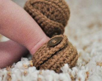 Loafer Booties with Button - Light Brown - Baby Boy - Any Color/Size - Shoes Slippers - Newborn Shower Gift - Knit Crochet