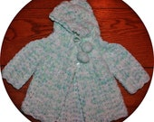 VTG Reborn Doll or Newborn Infant Aqua Crocheted Hooded Sweater - Newborn