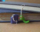 Bookworm and Chewed Book Earrings, Polymer Clay Jewellery, Book Lover Gift