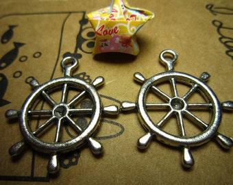 20pcs 28x25mm antique silver rudder charms pendant R20592