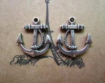 30pcs 23x20mm antique silver anchor charms pendant  C3837