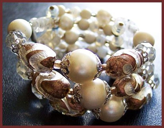 "Vintage 3 Coil Bracelet w White Champagne & Crystal Givre Glass Beads1.5"" EX"