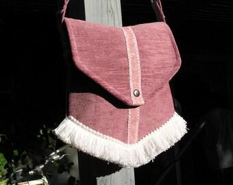 Pink Crossbody/Shoulder Bag Purse with Leather trim and Fringe