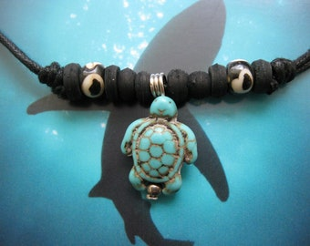 """Sea Turtle Necklace, Turquoise colored, Adjustable cord to 26"""""""