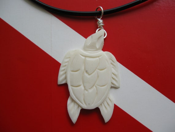"Sea Turtle Necklace, Hawaiian Honu, Hand Carved Bone Pendant, 18"" Soft Rubber Cord"